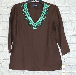 NWT Brown Linen Blouse with Turquoise Beads